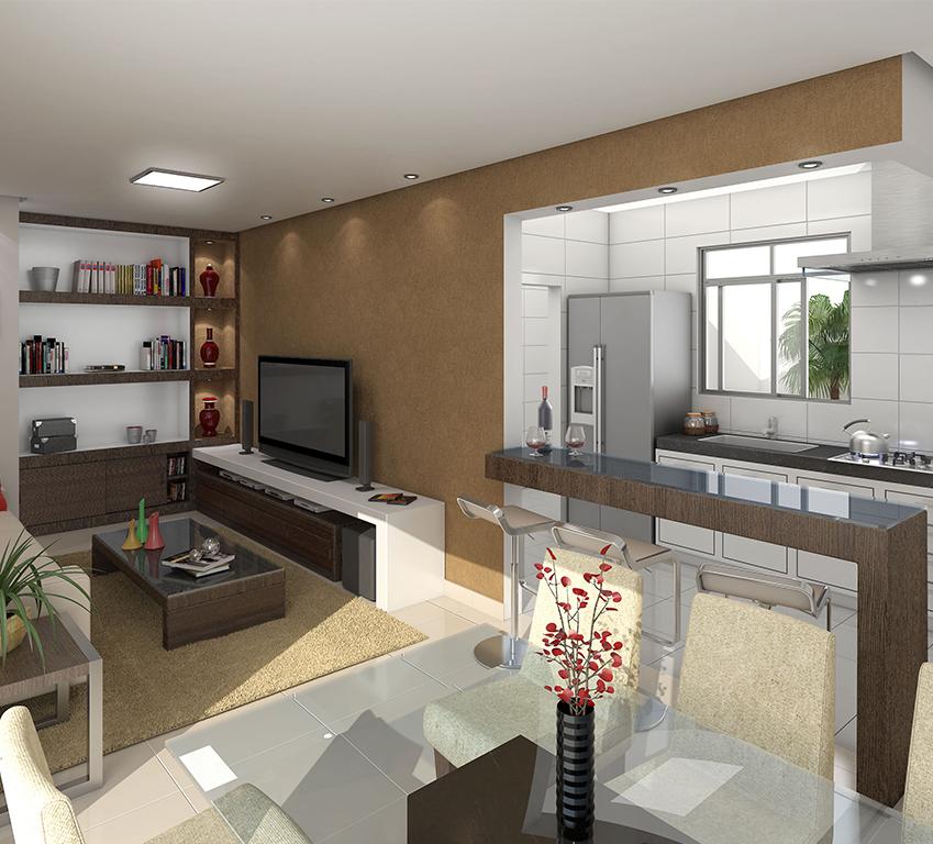 Edifício São Francisco - 3D Cozinha e Sala