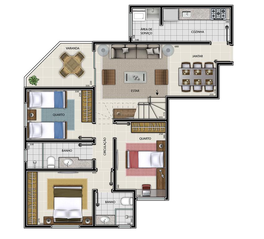 Edifício Mariana - Cobertura Tipo 1 Piso Inferior