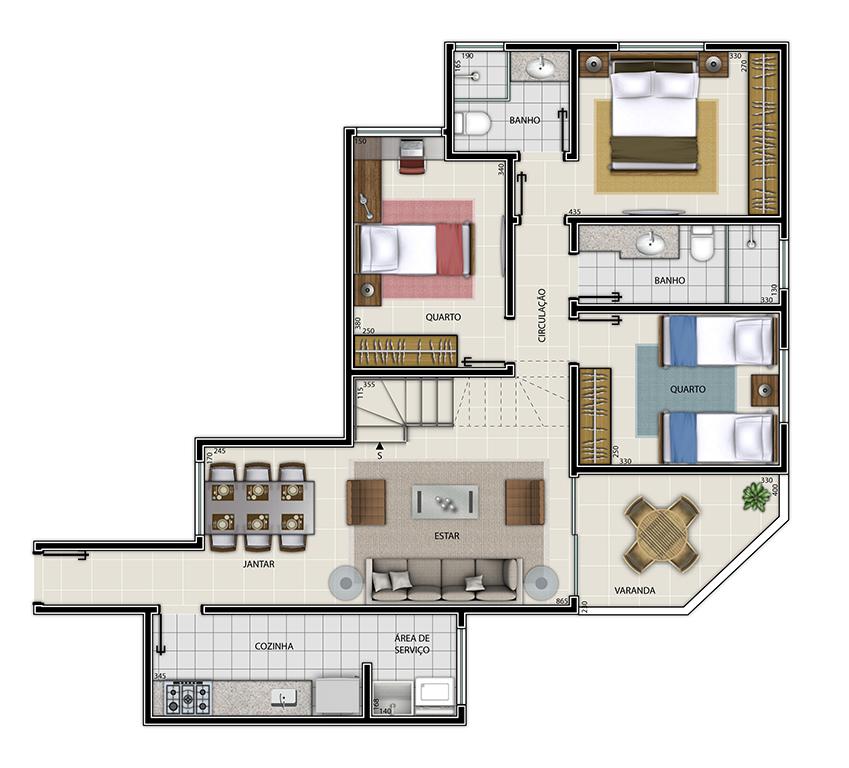 Edifício Mariana - Cobertura Tipo 3 Piso Inferior