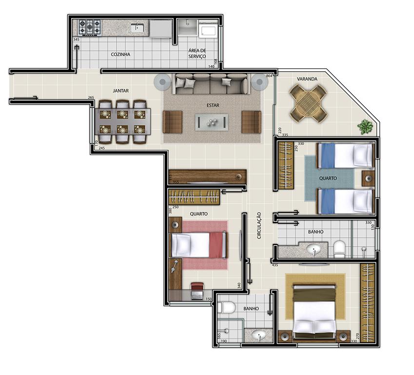 Edifício Mariana - Apto Tipo 3